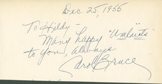 CAROL BRUCE - AUTOGRAPH NOTE SIGNED 12/25/1955 CO-SIGNED BY: GEORGE MARION JR., GYPSY MARKOFF, GEORGE RUBENSTEIN