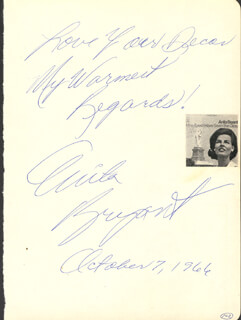 ANITA BRYANT - AUTOGRAPH NOTE SIGNED 10/07/1966