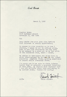 CAROL BURNETT - TYPED LETTER SIGNED 03/08/1965