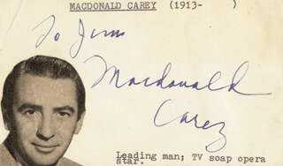 MACDONALD CAREY - INSCRIBED SIGNATURE