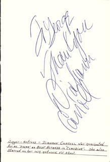 Autographs: DIAHANN CARROLL - AUTOGRAPH NOTE SIGNED