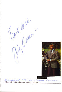 JOHNNY CARSON - AUTOGRAPH SENTIMENT SIGNED