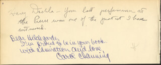 CAROL CHANNING - AUTOGRAPH NOTE SIGNED CO-SIGNED BY: HARRY DOEHLA