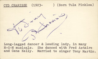 CYD CHARISSE - INSCRIBED SIGNATURE CIRCA 1952