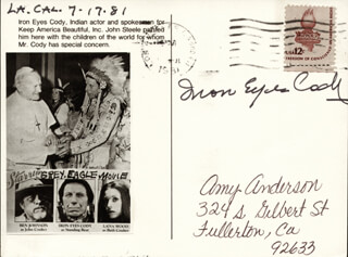 Autographs: IRON EYES CODY - PICTURE POST CARD SIGNED 07/17/1981