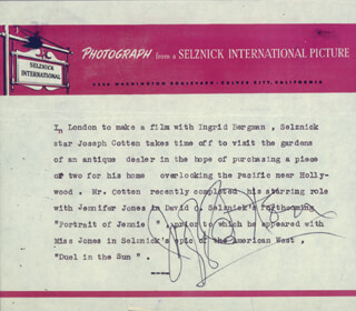 JOSEPH COTTEN - TYPED NOTE SIGNED