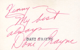 DANI CRAYNE - AUTOGRAPH NOTE SIGNED