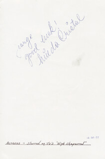 LINDA CRISTAL - AUTOGRAPH NOTE SIGNED