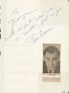 BILL DANA - AUTOGRAPH NOTE SIGNED