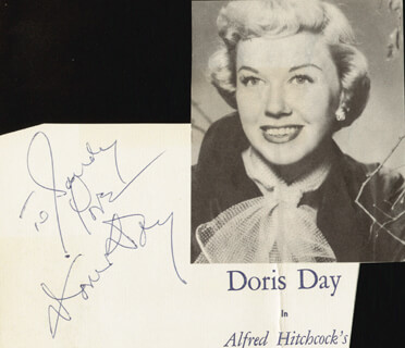 DORIS DAY - AUTOGRAPH NOTE SIGNED