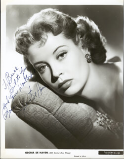 GLORIA DEHAVEN - INSCRIBED PRINTED PHOTOGRAPH SIGNED IN INK