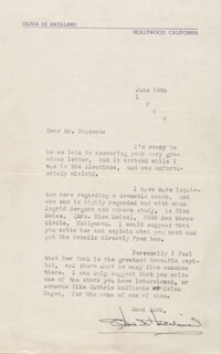 OLIVIA DE HAVILLAND - TYPED LETTER SIGNED 06/24/1944