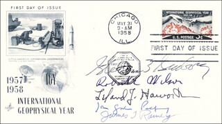 GLENN T. SEABORG - FIRST DAY COVER SIGNED CO-SIGNED BY: ROBERT E. WILSON, JAMES T. RAMEY, LELAND J. HAWORTH