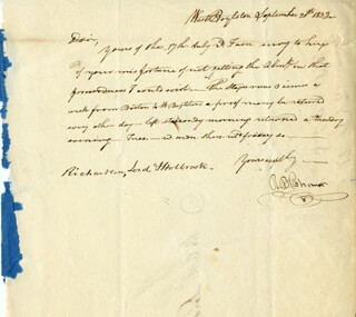 ROBERT BAILEY THOMAS - AUTOGRAPH LETTER SIGNED 09/20/1833