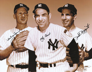 YOGI BERRA - AUTOGRAPHED SIGNED PHOTOGRAPH CO-SIGNED BY: WHITEY FORD, PHIL RIZZUTO