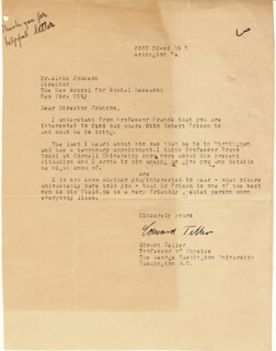 EDWARD TELLER - TYPED LETTER SIGNED