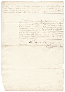 TOMAS ROMAY CHACON - MANUSCRIPT DOCUMENT SIGNED 10/15/1839