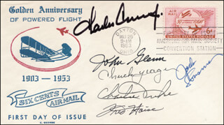 JOHN GLENN - COMMEMORATIVE ENVELOPE SIGNED CO-SIGNED BY: COLONEL JACK LOUSMA, BRIGADIER GENERAL CHARLES M. DUKE JR., FRED W. HAISE JR., CAPTAIN CHARLES PETE CONRAD JR., BRIGADIER GENERAL CHUCK YEAGER