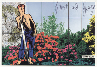 GILBERT & GEORGE - PICTURE POST CARD SIGNED CIRCA 1988 CO-SIGNED BY: GILBERT PROESCH, GEORGE PASSMORE