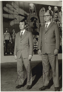 GILBERT & GEORGE - PICTURE POST CARD SIGNED CIRCA 1990 CO-SIGNED BY: GILBERT PROESCH, GEORGE PASSMORE