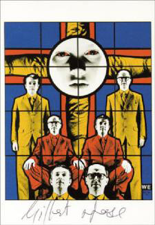 GILBERT & GEORGE - PICTURE POST CARD SIGNED CIRCA 1983 CO-SIGNED BY: GILBERT PROESCH, GEORGE PASSMORE