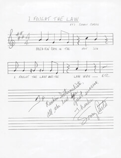 SONNY CURTIS - INSCRIBED AUTOGRAPH MUSICAL QUOTATION SIGNED
