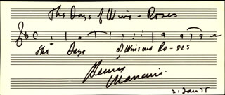 HENRY MANCINI - AUTOGRAPH MUSICAL QUOTATION SIGNED 01/21/1975