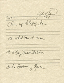 JOHN STEWART - AUTOGRAPH LYRICS SIGNED 1994