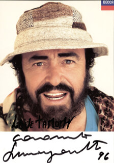 LUCIANO PAVAROTTI - AUTOGRAPHED INSCRIBED PHOTOGRAPH 1996