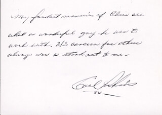 CARL LEE PERKINS - AUTOGRAPH STATEMENT SIGNED 1984