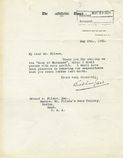WICKHAM STEED - TYPED LETTER SIGNED 05/06/1921