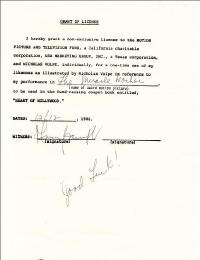ANNE BANCROFT - DOCUMENT SIGNED 12/12/1986