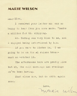 MARIE WILSON - TYPED LETTER SIGNED 10/15/1938