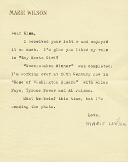 MARIE WILSON - TYPED LETTER SIGNED 01/02/1939