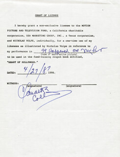 CLAUDETTE COLBERT - DOCUMENT SIGNED 04/27/1987