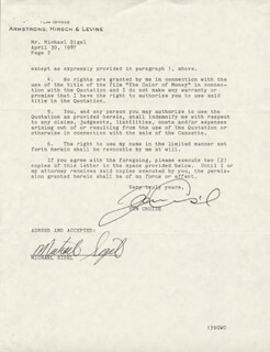 TOM CRUISE - DOCUMENT SIGNED 04/30/1987