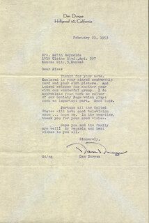DAN DURYEA - TYPED LETTER SIGNED 02/23/1953
