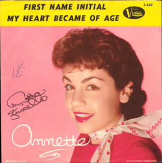 ANNETTE FUNICELLO - RECORD COVER SIGNED
