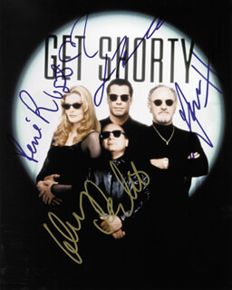 GET SHORTY MOVIE CAST - AUTOGRAPHED SIGNED PHOTOGRAPH CO-SIGNED BY: GENE HACKMAN, JOHN TRAVOLTA, DANNY DEVITO, RENE RUSSO