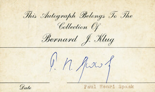 Autographs: PRIME MINISTER PAUL-HENRI SPAAK/ BELGIUM - PRINTED CARD SIGNED IN INK