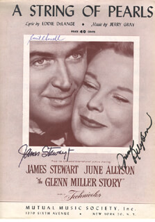 GLENN MILLER STORY MOVIE CAST - SHEET MUSIC SIGNED CO-SIGNED BY: JAMES JIMMY STEWART, JUNE ALLYSON