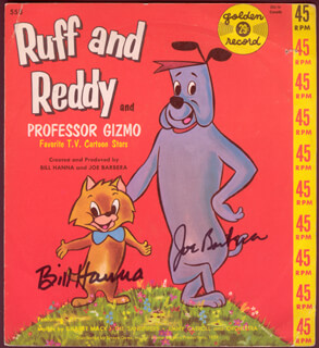 Autographs: BILL HANNA - RECORD COVER SIGNED CO-SIGNED BY: JOSEPH BARBERA