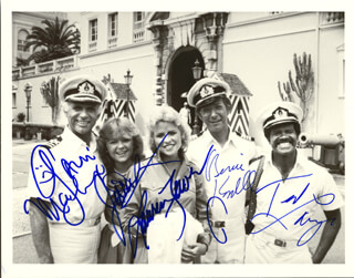 THE LOVE BOAT TV CAST - AUTOGRAPHED SIGNED PHOTOGRAPH CO-SIGNED BY: BERNIE KOPELL, TED LANGE, JILL WHELAN, GAVIN MacLEOD, LAUREN TEWES
