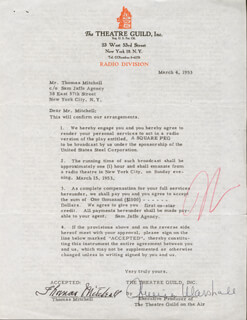 THOMAS MITCHELL - CONTRACT SIGNED 03/04/1953