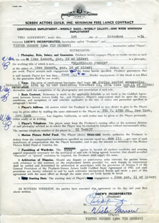 VIC MORROW - CONTRACT MULTI-SIGNED 11/01/1954