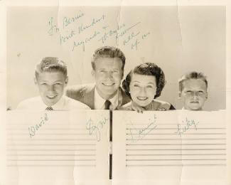 ADVENTURES OF OZZIE & HARRIET T.V. CAST - AUTOGRAPHED INSCRIBED PHOTOGRAPH CO-SIGNED BY: HARRIET HILLIARD NELSON, DAVID NELSON, OZZIE NELSON, RICK NELSON