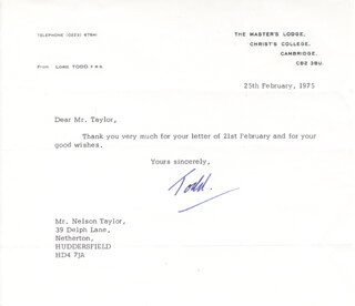Autographs: LORD ALEXANDER R. TODD - TYPED LETTER SIGNED 02/25/1975