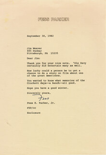 FESS PARKER - TYPED LETTER SIGNED 09/30/1982