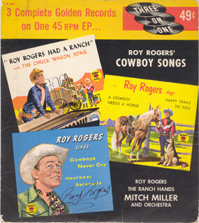 ROY ROGERS - RECORD COVER SIGNED