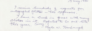 CLYDE WILLIAM TOMBAUGH - AUTOGRAPH NOTE SIGNED 05/13/1980
